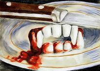 Vampir, Erdbeeren, Gebiss, Messer