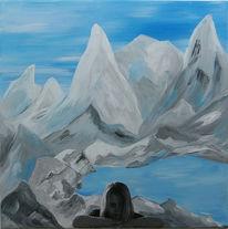 Berge, Blau, Grau, Mädchen