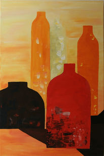 Rot, Flasche, Orange, Malerei