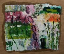 Schilf, Ölmalerei, Frühling, Packpapier