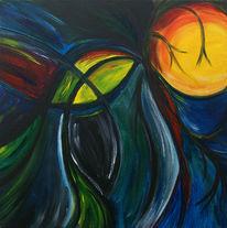 Abstrakt, Mond, Nacht, Malerei
