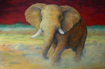 Steppe, Tierportrait, Savanne, Acrylmalerei