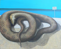 Acrylmalerei, Schlange, Tiere, Portrait