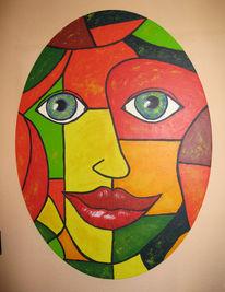 Blick, Gesicht, Malerei, Abstrakt