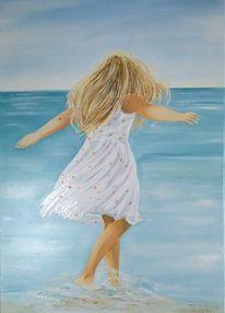 Sommer, Strand, Mädchen, Fröhlichkeit