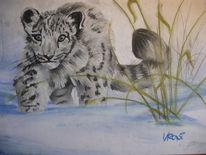 Tiere, Winter, Pastellmalerei, Blau