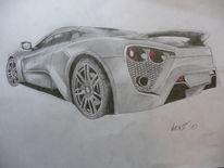 Bleistiftzeichnung, Auto, Buntstiftzeichnung, Zenvost1