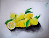 Malerei, Gelb, Stillleben, Weiß