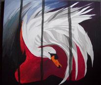 Acrylmalerei, Weiß, Schwan, Rot schwarz