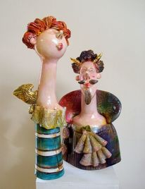 Ceramic, Sculptur, Design, Portrait
