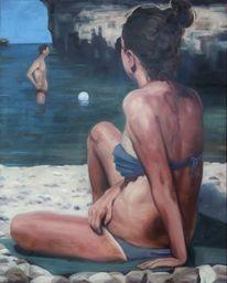 Strand, Mädchen, Sommer, Malerei