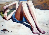 Dünn, Mädchen, Strand, Bein