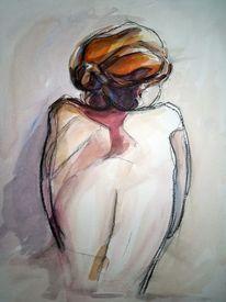 Frau, Rücken, Haare, Akt