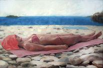 Strand, Sommer, Frau, Malerei