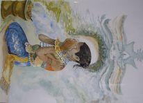 Gemälde, Reise, Weihrauch, Aquarellmalerei