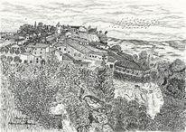 Historische, Südfrankreich, Landschaft, Zeichnungen