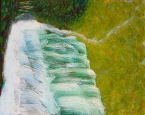 Wasserfall, Wald, Licht, Schatten