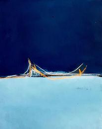Hängematte, Landschaft, Blau, Malerei
