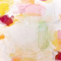 Pastellmalerei, Rosa, Weiß, Grün