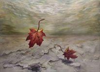 Wasser, Landschaft, Blätter, Herbst
