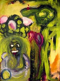 Frau, Kali, Acrylmalerei, Göttin