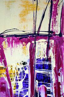 Abstrakt, Gelb, Blau, Malerei
