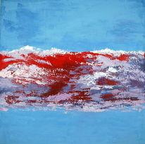 Abstrakt, Landschaft, Acrylmalerei, Mischtechnik