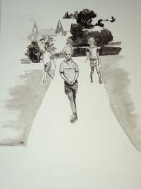 Weg, Haus, Kinder, Malerei