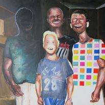 Gruppe, Familie, Lachen, Malerei