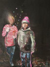 Mädchen, Mütze, Nacht, Malerei