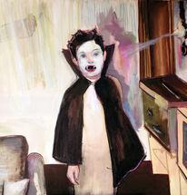 Kind, Wohnzimmer, Portrait, Vampir