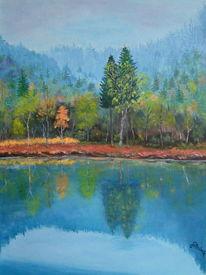 See, Spiegelung, Ufer, Wald