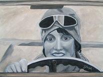 Frau, Lenkrad, Portrait, Malerei