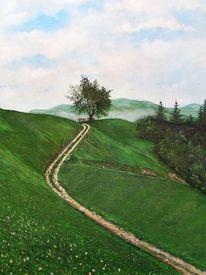 Wiese, Baum, Berge, Malerei