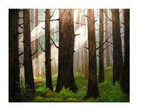 Ölmalerei, Moos, Wald, Licht