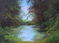 Wald, See, Laub, Malerei