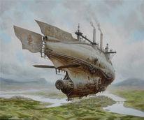 Steampubk, Landschaft, Dampf, Luftschiffe