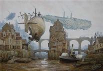 Hafen, Zeppelin, Dampf, Luftschiff