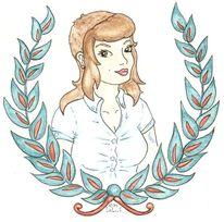 Tattoo, Skinhaedgirl, Oldschool, Aquarellmalerei