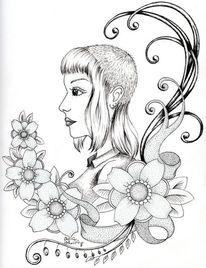 Kopf, Portrait, Blumen, Frau
