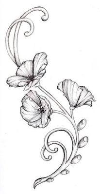 Wind, Blumen, Pflanzen, Bleistiftzeichnung