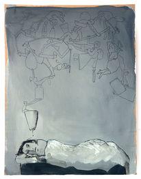 Schlaflos, Gedanken, Nacht, Zeichnungen