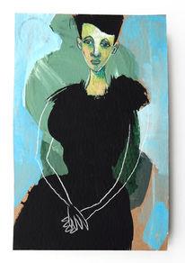 Frau, Beobachten, Kleid, Malerei