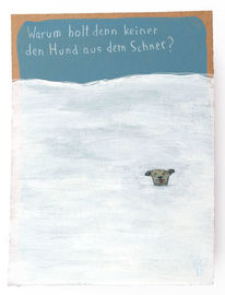 Winter, Schnee, Hund, Zeichnungen