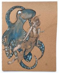 Tintenfisch, Frau, Südkorea, Zeichnungen
