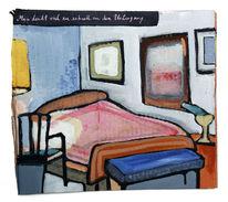 Stuhl, Raum, Bett, Malerei