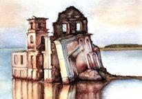Kirche, Vergänglichkeit, Architektur, Aquarell