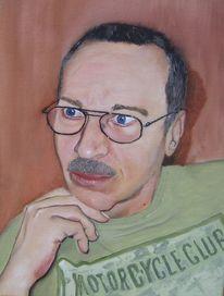 Ölmalerei, Brille, Mann, Portrait