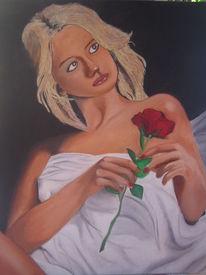 Bett, Ölmalerei, Frau, Rose