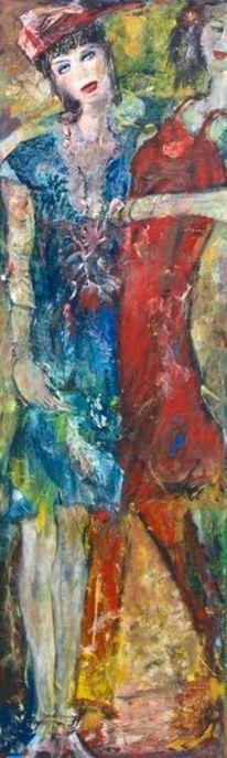 Großformatig, Rotes kleid, Blaues kleid, Malerei